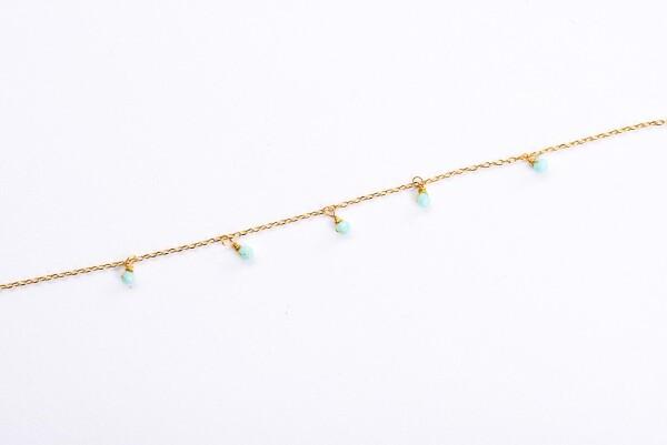 Bracelet with turquoise crystal pendants gilded   Perlenmarkt