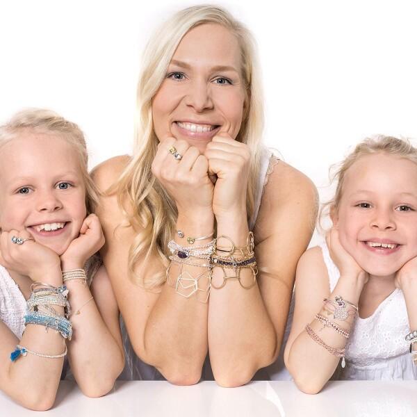 Charm bracelet link bracelet with round links silver plated   Perlenmarkt