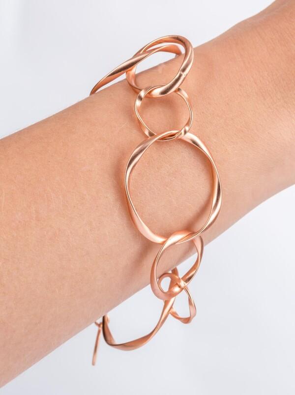 Charm Bracelet Link bracelet with twisted round links rose gold plated | Perlenmarkt