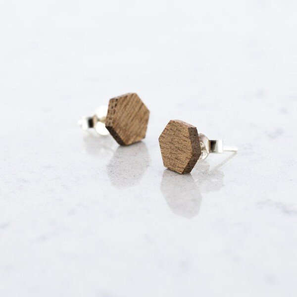 Sapele HEXAGON stud earrings | Debosc