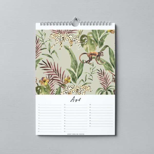 Birthday Calendar - Into The Jungle - A4 | Annet Weelink Design