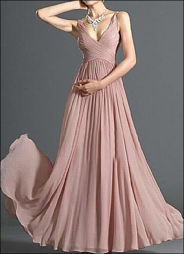 Evening dress made of chiffon v-neck | Lafanta | Abend- und Brautmode