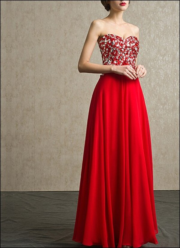 Red evening gown with Rhinestone and chiffon skirt | Lafanta | Abend- und Brautmode