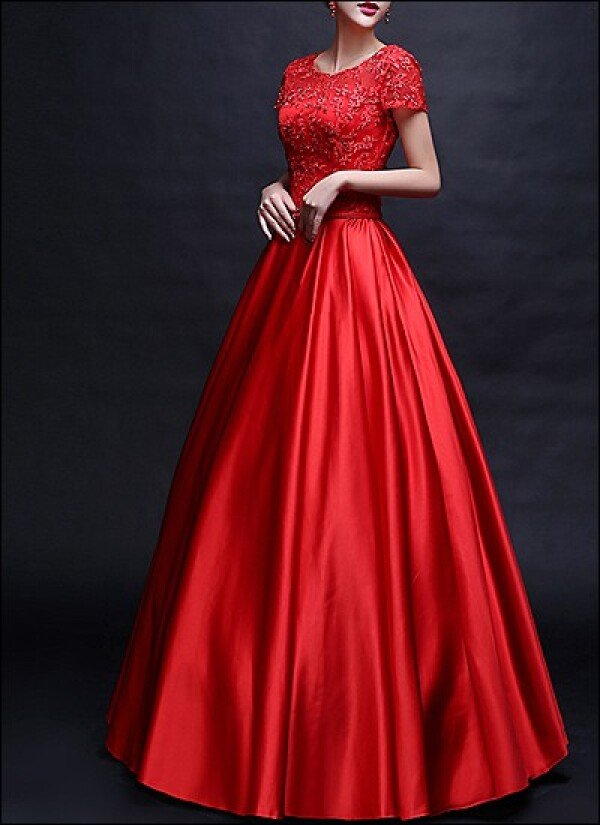 Red Ball Gown With Transparent Neckline And Sleeves By Lafanta