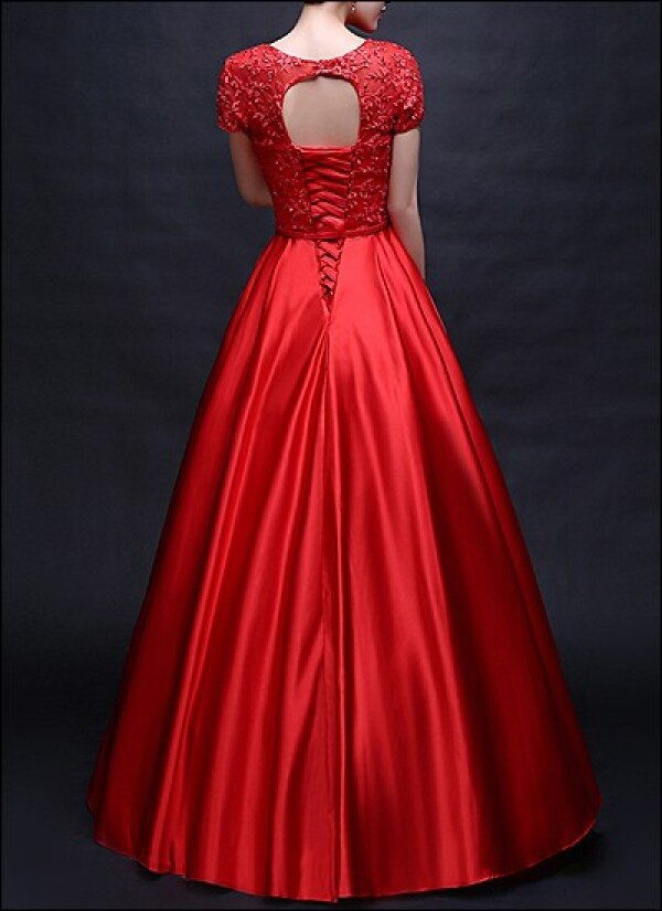 Red ball gown with transparent neckline and sleeves | Lafanta | Braut- und Abendmode