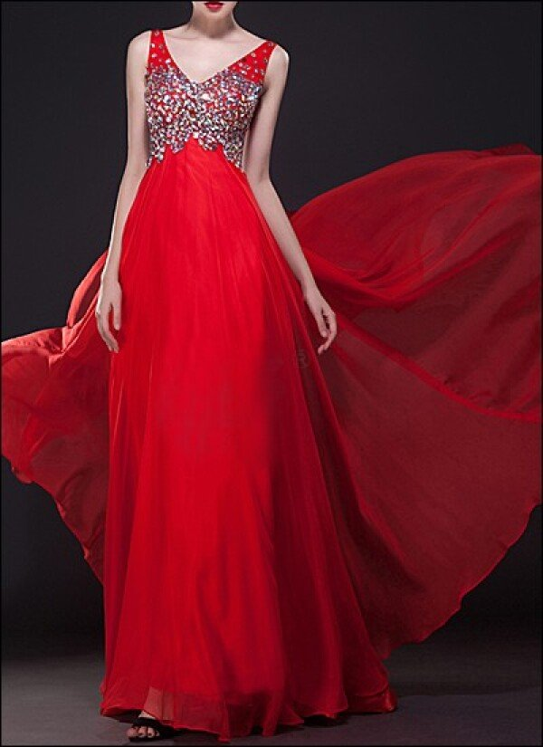 Red Evening Dress With Sequins Embroidery By Lafanta Abend Und