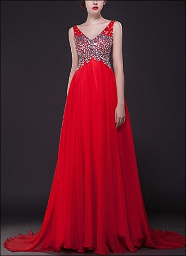 Red evening dress with sequins embroidery | Lafanta | Abend- und Brautmode