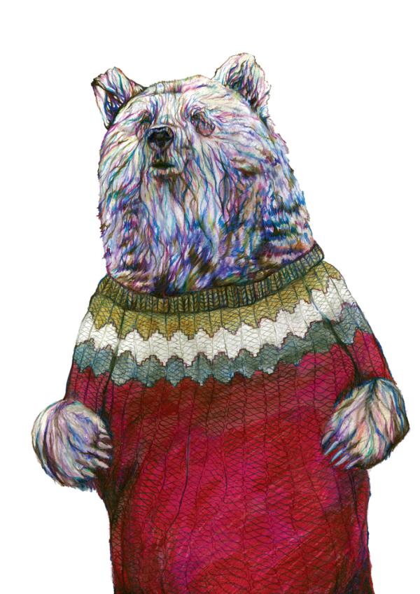 Brian the Bear - signed gesso print | Jam Art Factory