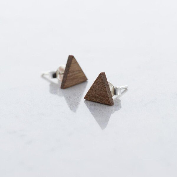 Sapele TRIANGLE stud earrings | Debosc