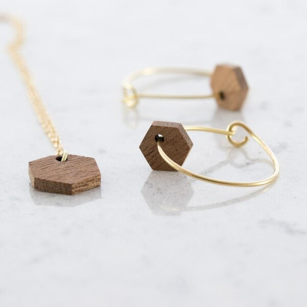 Hexagon earrings and necklace set Sapele | Debosc