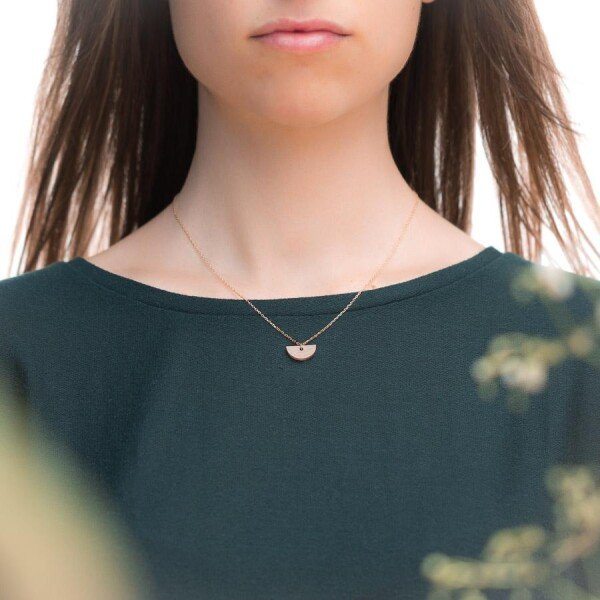 Crescent-shaped earrings and necklace set walnut | Debosc