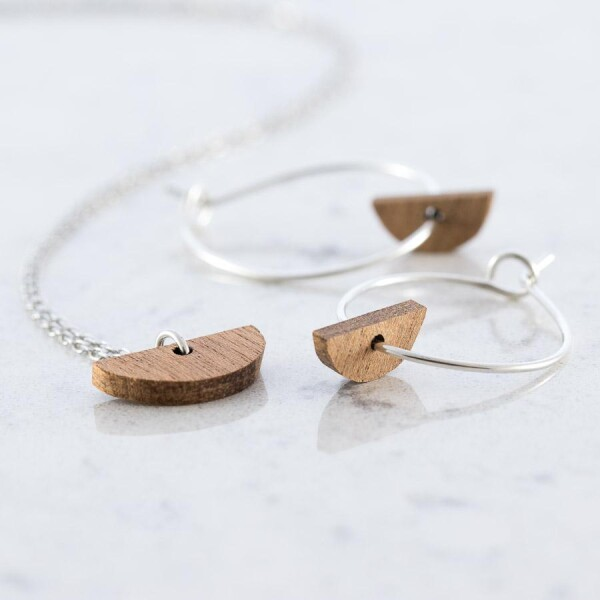 Crescent-shaped earrings and necklace set Sapele | Debosc