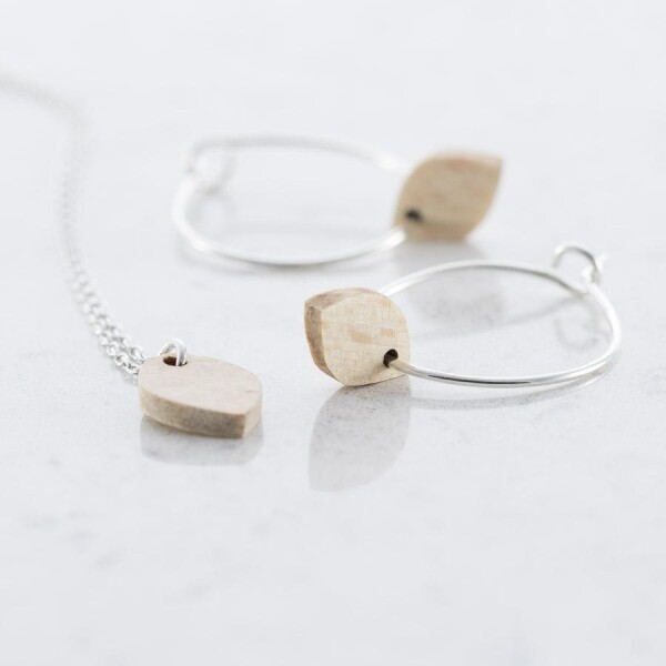 Beech OVAL EARRINGS AND NECKLACE SET | Debosc