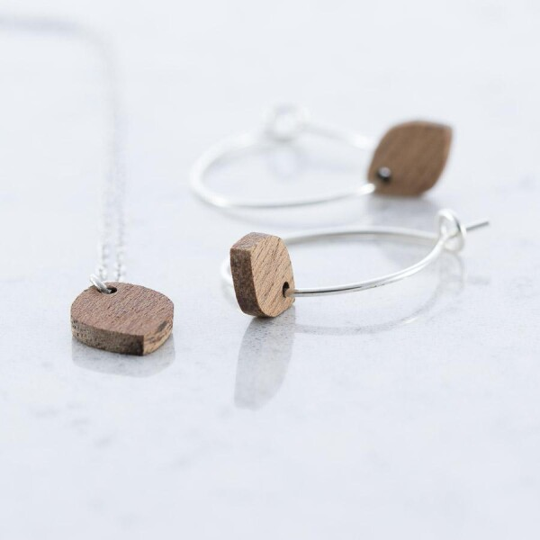 Oval earrings and necklace set Sapele   Debosc