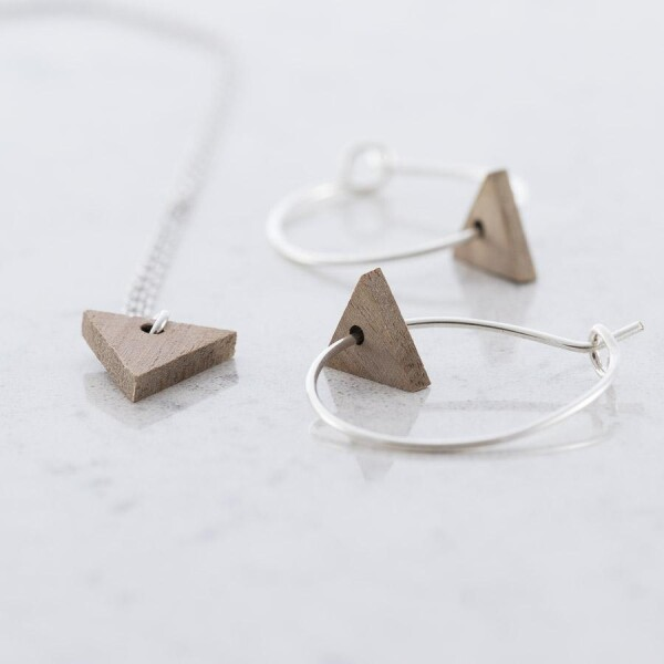 Triangular earrings and necklace set walnut | Debosc