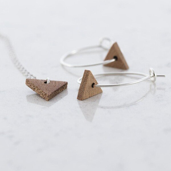 Triangular earrings and necklace set Sapele | Debosc