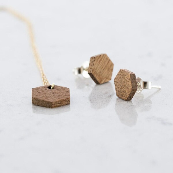 Sapele Hexagon Stud Earrings and Necklace Set Sapele | Debosc