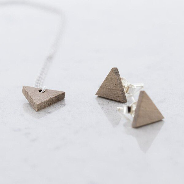 Walnut Triangular Stud Earrings and Necklace Set Walnut | Debosc