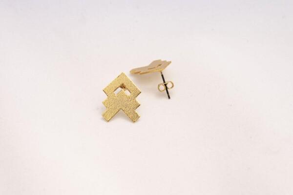 Ear Studs Gold Ancestral Design | Bizar_Cologne