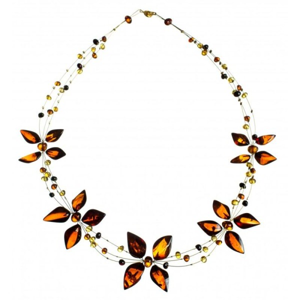 Cognac and lemon-colored necklace | BalticBuy