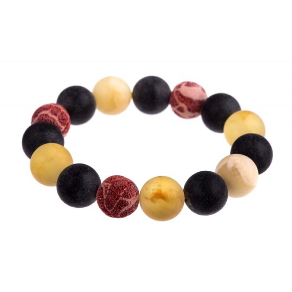 Colorful amber and coral bracelet