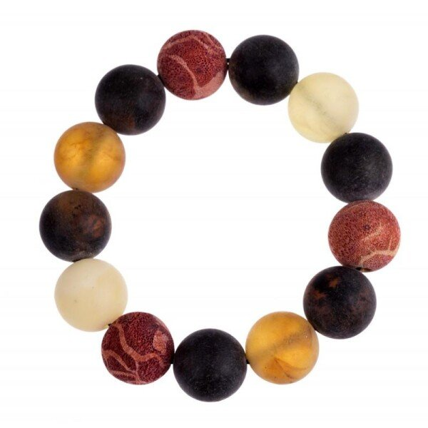 Colorful natural amber and coral bracelet