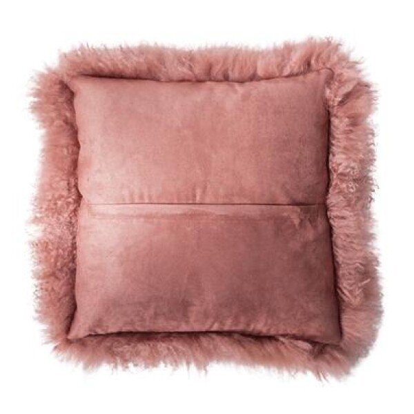 pink lambskin cushion 40x40cm | Calluna Cottage