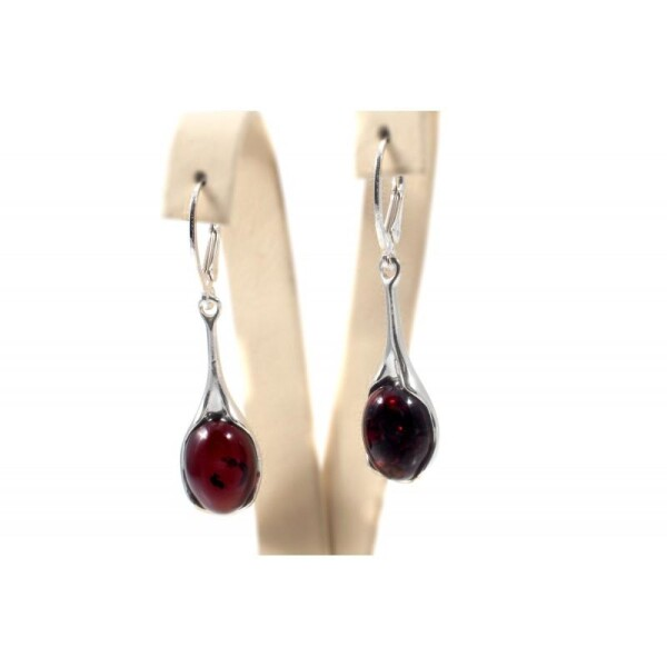 Silver earrings with dark red amber