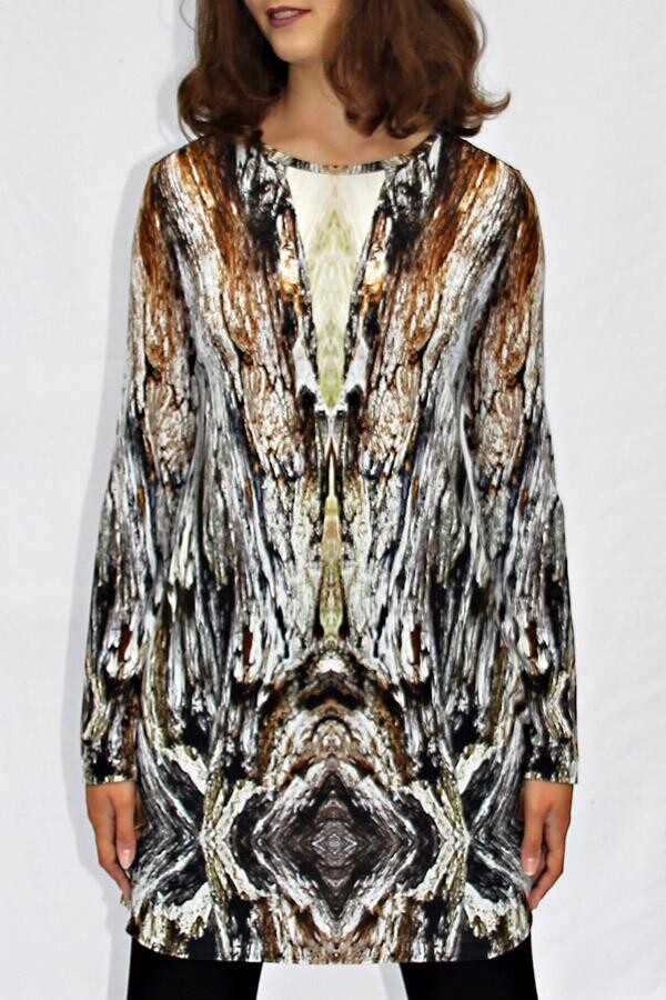 anthracite-brown-colored long shirt with own fabric print DEYNARI_17 | MOLOTOW