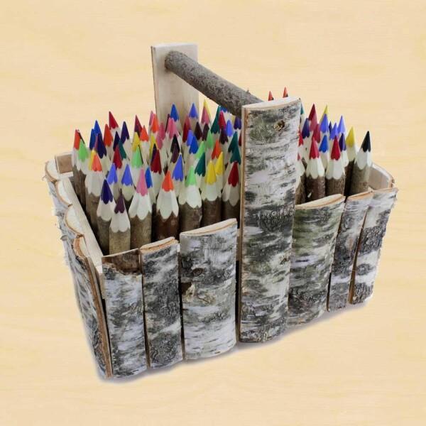 Crayons nature in birch wood box | Die Werkkiste