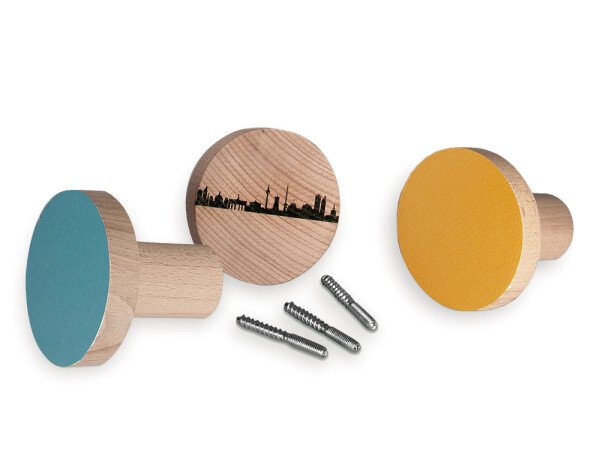 Set of 3 round wardrobe buttons LONDON made of beech wood | 44spaces