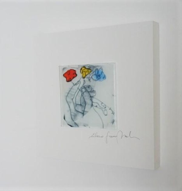 Glass picture Three flowers 15x15 white | Design Elena