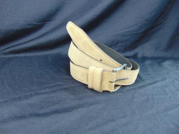 Leather belt suede beige | Iris Berghoff