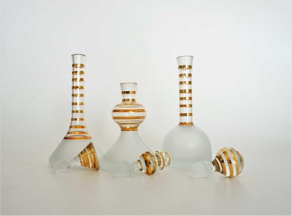 Bottle set 3 gold rim | Design Elena