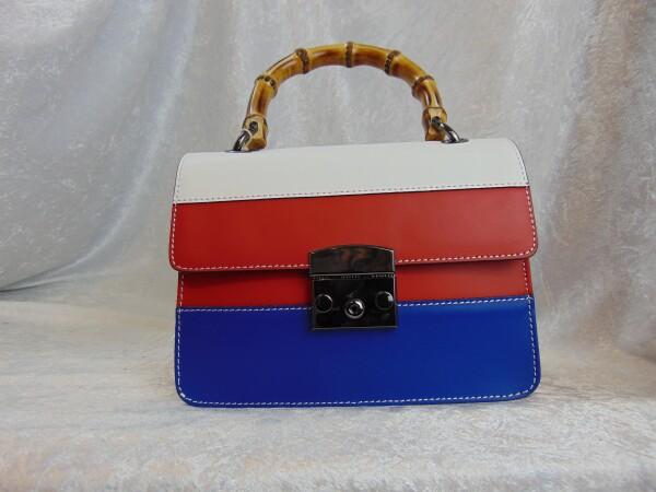 Lederhandtasche blau rot weiß | Iris Berghoff