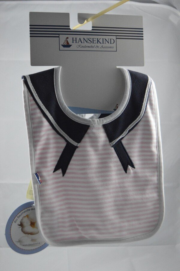 Pink sailor style organic cotton bib | LAND- KINDer