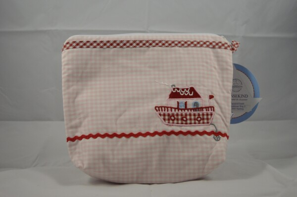 Toiletry bag with pink checks and a steamboat | LAND- KINDer