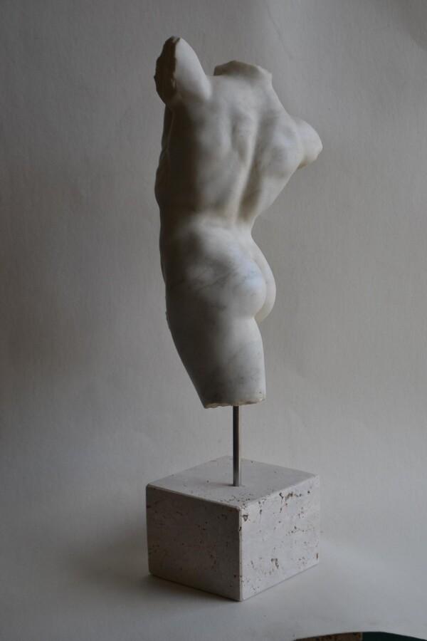 Male Torso 5 -white Carrara marble | Todini- sculture d'arredamento