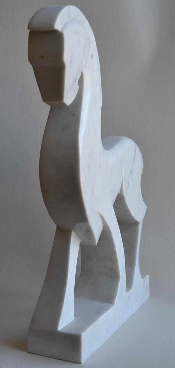 White Horse -White Carrara marble | Todini- sculture d'arredamento