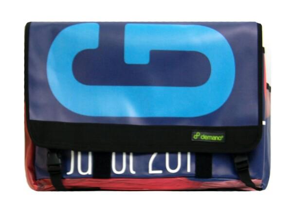 Brompton Bag Diagonal Mar // Blue - Orange/Turquoise letters   Demano