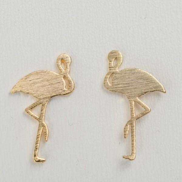 Gold plated earrings with flamingo motif | Perlenmarkt