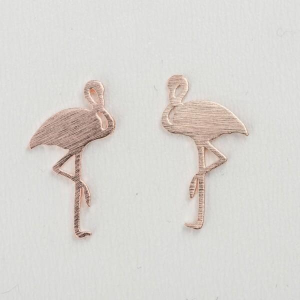 Flamingo rose gold plated earrings   Perlenmarkt
