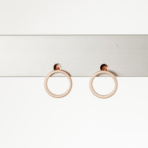 Earrings with circle motif rose gold plated   Perlenmarkt