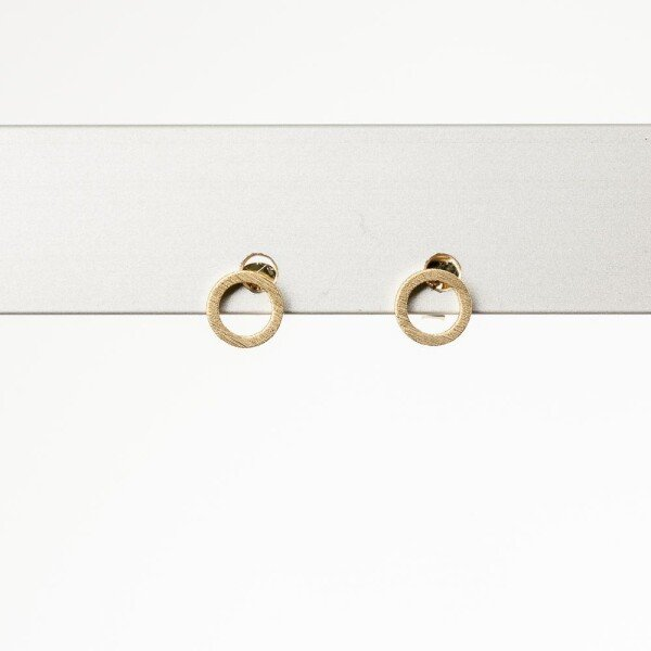 Earrings with small circle motive gold plated   Perlenmarkt