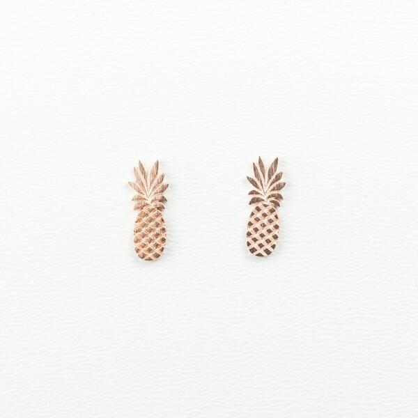 Earrings with pineapple motif rose gold plated   Perlenmarkt