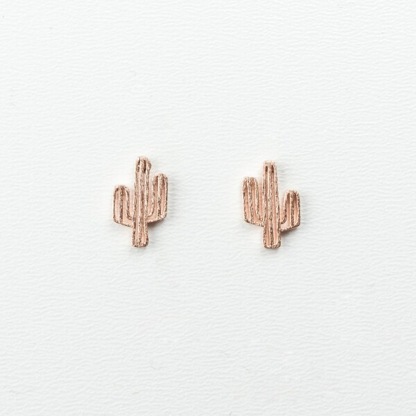 Earrings with cactus motif rose gold plated | Perlenmarkt