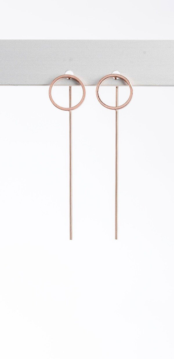 Stud earrings small circle rose gold plated   Perlenmarkt