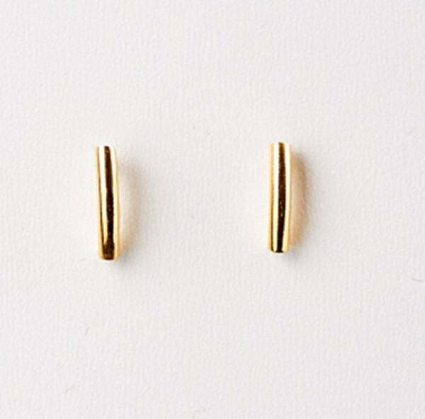 Earrings with curved bar sterling silver plated   Perlenmarkt