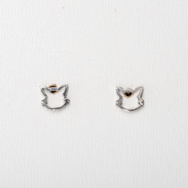 Earrings with cat's head sterling silver | Perlenmarkt