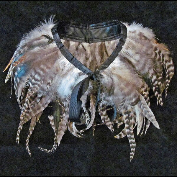 Feather collar with bright natural feathers | Carol and Me